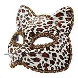 The Rubber Plantation TM 619219292511 - Mscara de mascarada veneciana de leopardo para Halloween Gatto felino para disfraz de gato
