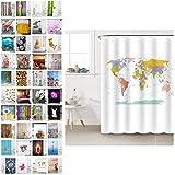 Sanilo Duschvorhang, viele schöne Duschvorhänge zur Auswahl, hochwertige Qualität, inkl. 12 Ringe, wasserdicht, Anti-Schimmel-Effekt (180 x 200 cm, Weltkarte)