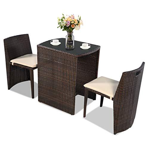 GIANTEX 2+1 Set Mobili da Pranzo per Esterni in Polyrattan con Cuscini, Set Tavolo e Sedie da Giardino da Pranzo Estensibile