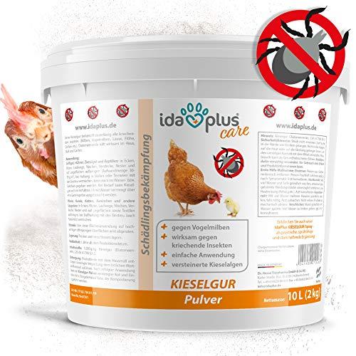 Ida Plus - Kieselgur 10 Liter - Kieselerde Pulver - Diatomeenerde als Mittel gegen Vogelmilben, Ameisen, Flöhe & Insekten - für Hühner, Geflügel, Pferde, Kaninchen & Hunde - inkl. Puderflasche