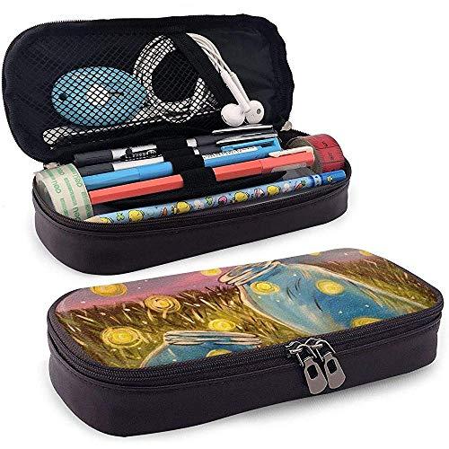 Premium-Pu-Leder Stift Federmäppchen Beutelhalter - Große Kapazität Briefpapier Box (Flaschen mit Glowworm Painting)