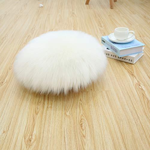 Love Home Runde Sitzkissen Lammfell,weiches Faux Schaffell Sitzbezug Flauschige Faux Bodenkissen Boden-Kissen Zuhause Tatami Futon(nur 1 Stück)-weiß 50x50cm(20x20inch)