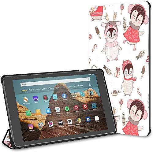 Funda para Kindle Funda Inteligente de Cuero PU Cute Penguins Snowflake Nueva Funda para Tableta Fire HD Funda para Tableta Kindle Fire HD de 10 Pulgadas (9a generación 2019 / 7a generación 2017) con