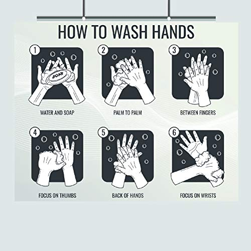 Hand Washing in Six Steps – Step by Step – 16 x 20 – Wash Your Hands – Germs – Cold and Flu –Bathroom Decor – Wall Print – Bathroom Art – Hygiene Poster – Health Class – Coronavirus – Public Restroom