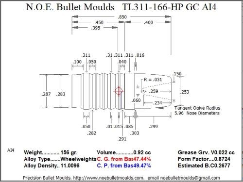 For Sale! Bullet Mold 4 Cavity Brass .311 Caliber Gas Check 166gr Bullet with a Round/Flat Nose Prof...