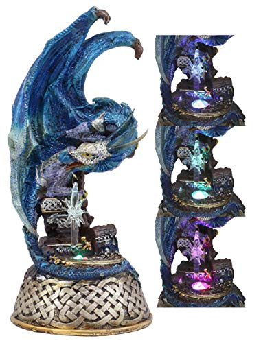 Ebros Medieval Fantasy Midnight Summer Dream Armored Blue Ice Dragon On Celtic Knotwork Pedestal Statue with Color Changing LED Crystal Night Light for Home Decor Dungeons and Dragons Gothic Theme