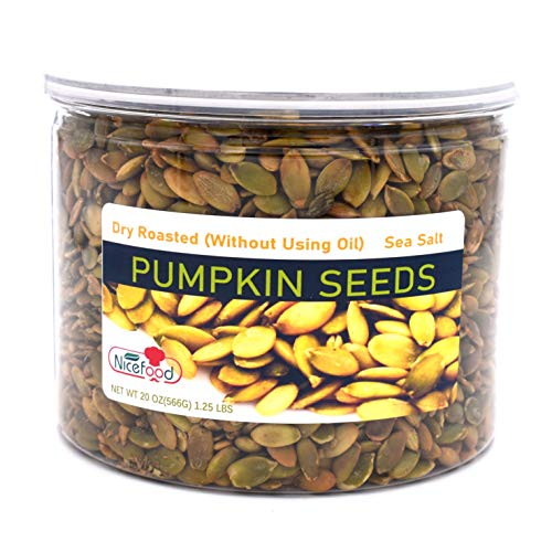 Nicefood, Pumpkin Seeds kernels , Sea salted & Dry Roasted(no oil used), 20 OZ (566g) 1.25 lbs, Reusable PET Jars, and can be used as kitchen food storage container, Nuts Tree Free Facility.