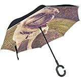 Mike-Shop Paraguas invertido Pug Retro Vintage Reverse Umbrella for Car Rain...