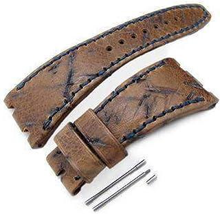 Cinturino per orologio in pelle marrone pesante con graffi e graffi, filo di cera blu scuro, fatto su misura per fit Audem...