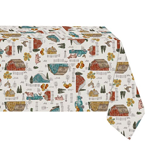 """Newbridge Rustic Watercolor Barnyard Print Vinyl Flannel Backed Tablecloth - Country Rustic Farmyard and Truck Pattern Indoor/Outdoor Easy Care Vinyl Tablecloth, 60"""" x 120"""" Oblong/Rectangle"""