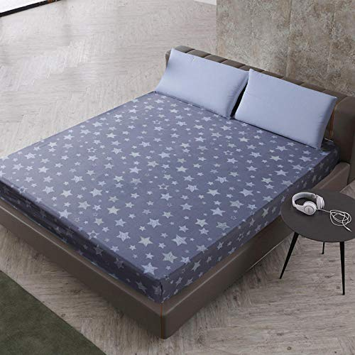 XGguo Protector de colchón de bambú Funda de colchón y Ajustable Sábana de Cama Impresa Funda Protectora cepillada-7_120X200 + 25cm