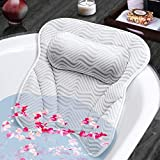 Susisal Bath Pillow for Tub, Bathtub Pillow with Neck Shoulder Back Support, 4D Air Mesh Bath Accessories, 6 Strong Suction Cups- Fits All Bathtub, Hot Tub, Jacuzzi Home Spa for Men Women