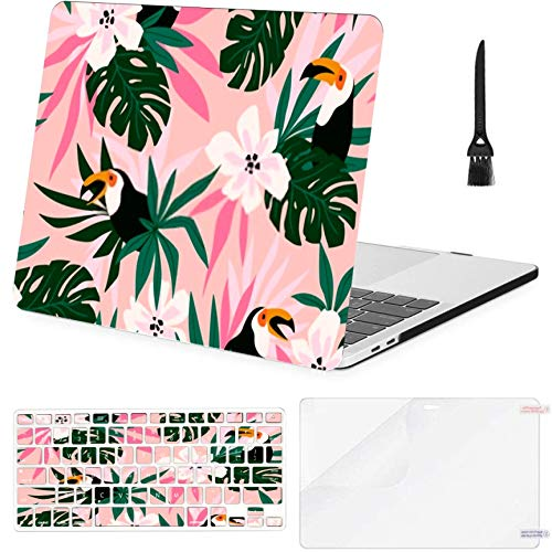 Macbook Air 11'(2010-2015),a1370 A1465 Case,Plastic Floral Background Tropical Flowers Leaves Toucans Hard Shell Case With Keyboard Cover & Screen Protector & Cleaning Brush