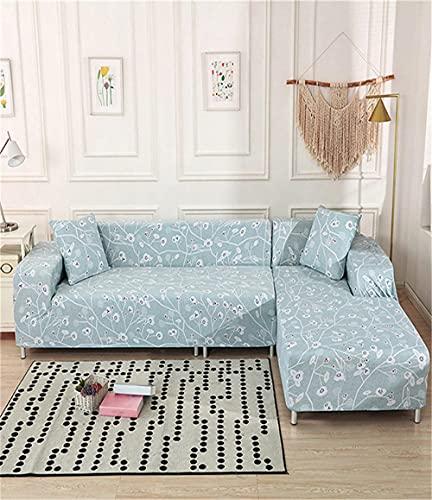 TXSA Funda Sofa 1/2/3/4 Plazas Fundas de Sofa Elasticas Cubre Antideslizante/Protector Ajustables de Sofá Floral Azul Estampada Cubre Sofa,1 Asiento 90-140CM