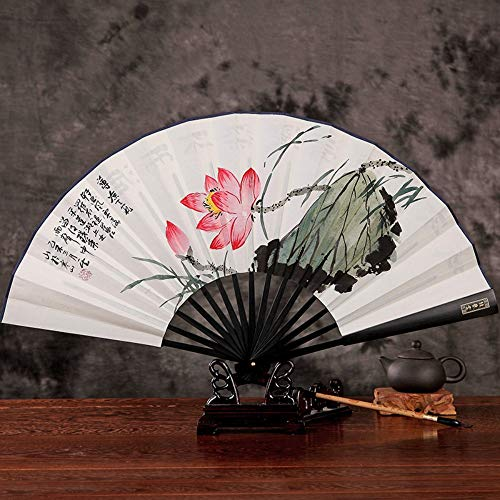 XIAOHAIZI vouwventilator klassieke mannelijke ventilator vouwventilator Chinese stijl mannen Fan antieke stijl met de hand beschilderd water Hibiscus Craft Paper Fan Gift Fan Boutique Fan