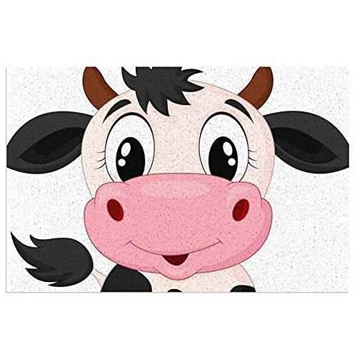 DLJIYZX Felpudo de Dibujos Animados de Leche de Vaca Alfombrillas de Entrada de PVC Antideslizante Alfombra de pie Alfombra de Cocina Alfombra de baño Alfombra 40X60CM