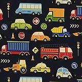 Loopomio Jersey Stoff Little Autos Polizei Feuerwehr bunt