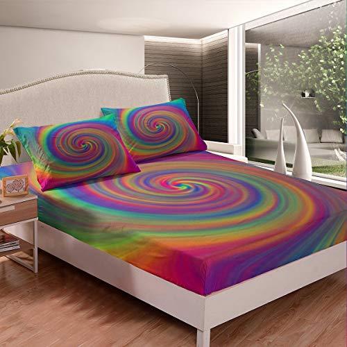 Juego de sábanas psicodélico con diseño de espiral, juego de sábanas coloridas para niños, niñas, bohemio, psicodélico, sábana bajera ajustable, diseño floral, 3 piezas, tamaño king