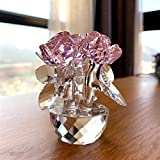 DFGDFG 6 Colores Cristal de Cristal Rose Flor Figurines Inpensor Ramo Escultura Home Car Coche Decoraciones Boda Regalo Día de San Valentín Regalo (Color : Pink 2)