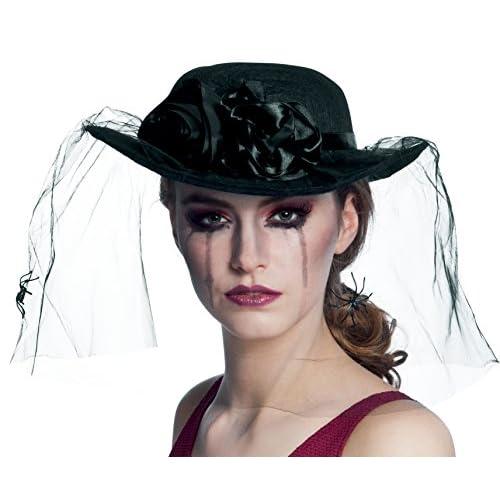 Boland- Cappello Vedova Nera Spider Widow con Velo per Adulti, Nero, Taglia Unica, 04120