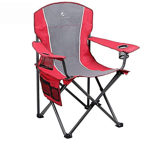 ALPHA CAMP Folding Camping Chair Heavy Duty Support 350 LBS Oversized Steel...