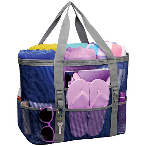 Mesh Beach Bag, Cambond Oversized Beach Tote Bag 9 Pockets Beach Toy Bag, Large (Blue)