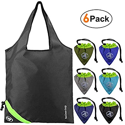 Reusable Grocery Bags 6 Pack Machine Washable Sturdy Ripstop Polyester Foldable Reusable Shopping Bags Easily Folding into Attached Pouch Reusable Grocery Totes Bags for Shopping