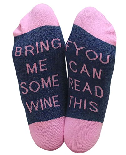 IF YOU CAN READ THIS BRING ME A GLASS OF WINE Socken Lustige Unisex Damen Mann Socken Neuheit Baumwolle Crew Socken