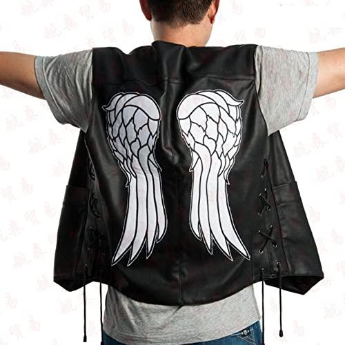 Chaleco de motocicleta de ángel Chaleco de cuero negro Chaleco de motocicleta Harley Chaleco de hombre