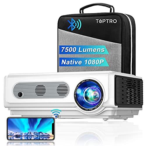 Proiettore WiFi TOPTRO con Custodia, Proiettore Bluetooth 7500 Lumen 1080P Nativo, Supporto 4K / Zoom, Proiettore Home Theater Compatibile con Telefono / TV Stick / PC / USB / HDMI / SD/DVD/PS4