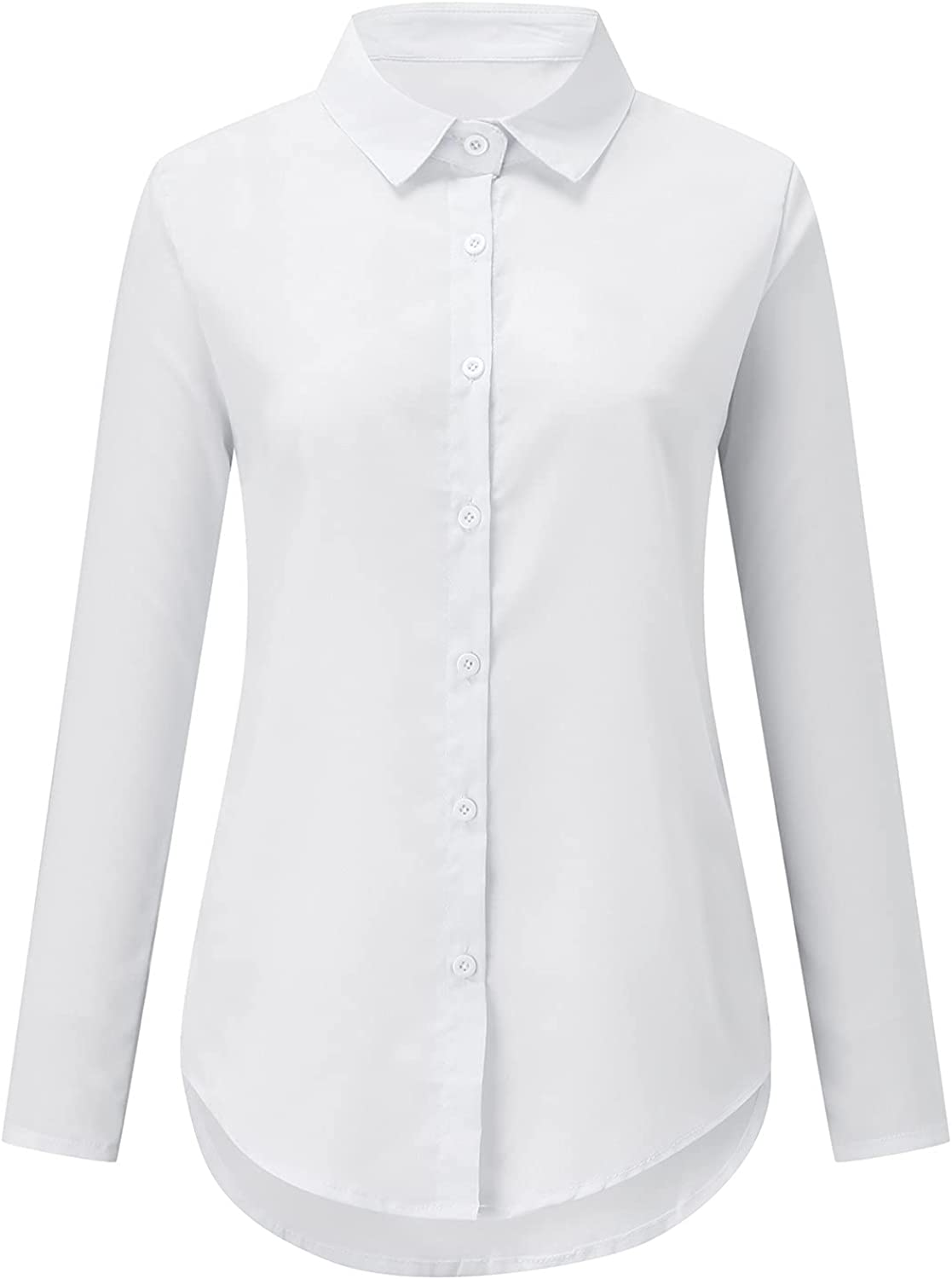 Women Casual Tops Button Down Sexy V Neck Long Sleeves Roll Up Casual Loose Puffed Solid Color Blouse Shirt