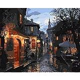 Paisaje de la ciudad pintura por números en lienzo para dibujar pintura...