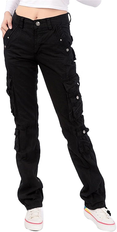Women's Casual Straight Leg Multiple Pockets Cotton Cargo Trousers Pants