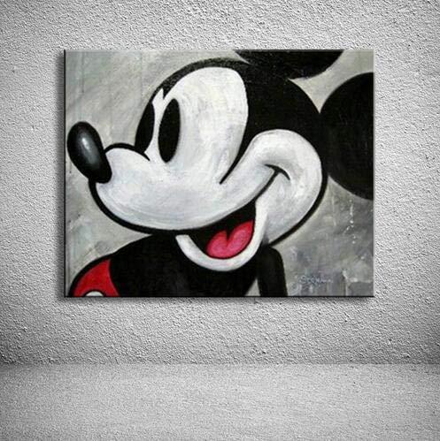 Orlco Art Wall Decor olieverfschilderij Mickey Mouse dier moderne olieverfschilderij op doek Abstract schilderij Blak wit Pop Art schilderijen 48