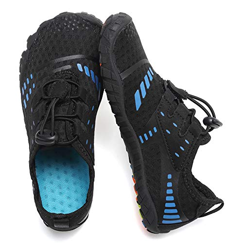 CIOR Boys & Girls Water Shoes Quick Drying Sports Aqua Athletic Sneakers Lightweight Sport Shoes(Toddler/Little Kid/Big Kid) U1ELJSX012-Blk.blue-28