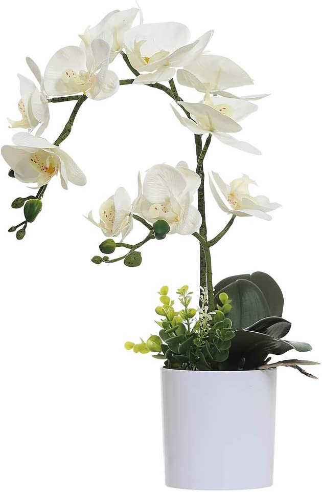 Omygarden White Max 74% OFF Orchid Artificial Seasonal Wrap Introduction Flowers Pot Fake O Plastic in