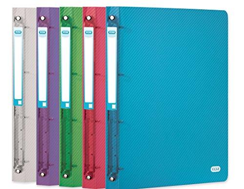 ELBA 400034839 ringband hawai 6-pack A4 ringmappen van kunststof met 2 ringen rugbreedte 40 mm groen, grijs, paars, rood, blauw, kleurloos