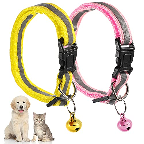 2 Pezzi Collare di Gatti a Fibbia a Sgancio Rapido Collare per Pet Riflettente Collare per Gattini Regolabile con Campanelli Collare di Cani Staccabile Collare Identificativo, Giallo e Rosa
