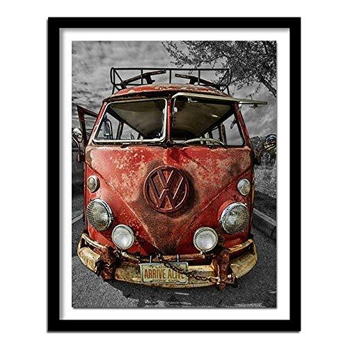 WWZEMLK 5D DIY Diamond Painting Kreuzstich VW Bus voll rund Diamond Stickerei Auto voll DiamondMaschine Bilder Strasssteine