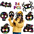 24 Pack Magic Scratch Paper Art Masks Set for Kids Rainbow Painting DIY Crafts Black Supplies Coloring Kits for Halloween Birthday Party Favors Creative Gift Bat Pumpkin Spider Wizard Hat Skull Ghost