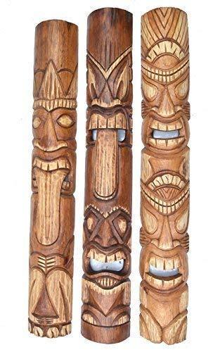 3 Tiki Máscaras Im Hawaii Look de Madera IN 100cm Largo Máscara Pared