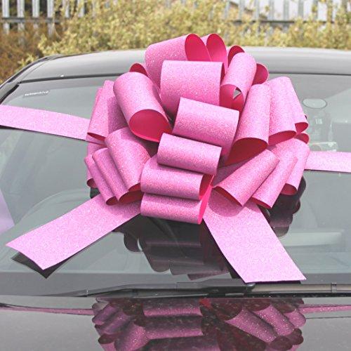Megagroße Auto-Geschenkschleife (40,6cm) + 6Meter Band für Autos und Fahrräder, große Geschenke für Geburtstag und Weihnachten, glitzerndes Rosa.