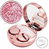 Contact Lens Case, Bling Stars Colored Portable Cute Eye Contact Lense Remover Tool with Mirror for Teen Girls Women Travel Carry(Rose Gold)