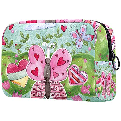 Neceser de Maquillaje para Mujer Bolso Organizador de Kit de Viaje cosmético,patrón con corazón de Mariposa Plantas Infantiles