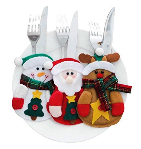 CHIC-Porte-Couverts Serviette Couteaux Fourchette Cuillère Forme de Costume Père Noël Décoration Noël Décoration Table Poche de Vaisselle (6pcs)