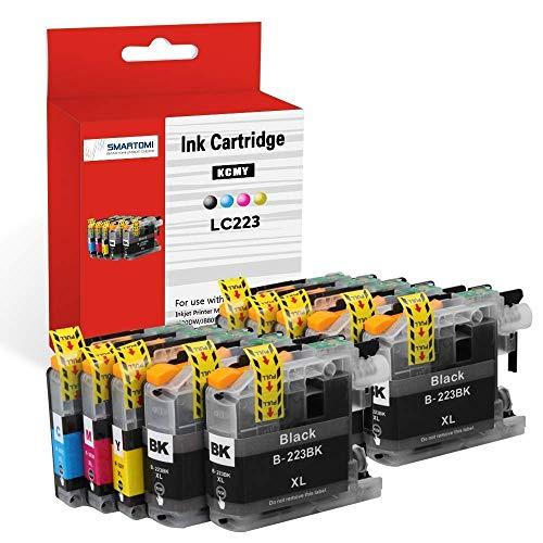 SMARTOMI Cartuchos de tinta Compatibles para Brother LC223 LC-223 LC223XL LC-223XL para Brother DCP-J4120DW DCP-J562DW, MFC-J480DW J880DW J4420DW J4625DW J4620DW J5320DW J5620DW J680DW J5720DW J5625DW