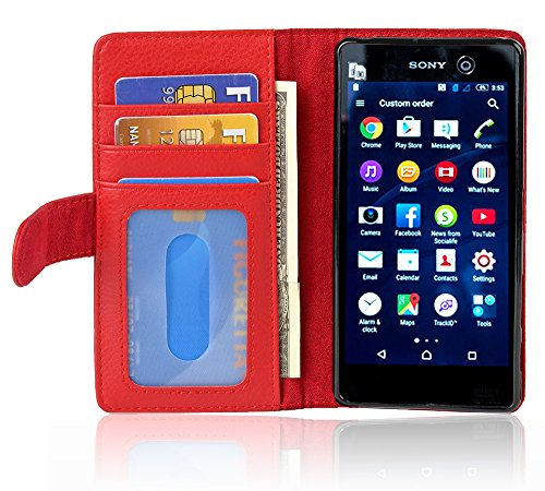 Cadorabo Hülle für Sony Xperia M5 in Inferno ROT – Handyhülle mit Magnetverschluss & 3 Kartenfächern – Hülle Cover Schutzhülle Etui Tasche Book Klapp Style