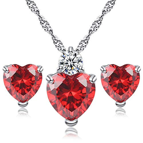 AILUOR Women White Gold Plated Simulated Ruby Crystal Heart Necklace and Stud Earrings Set - Queen of Hearts Pendant Jewelry Set Silver Chain January Birthstone Eve Red Heart Jewelry Gifts (Red)