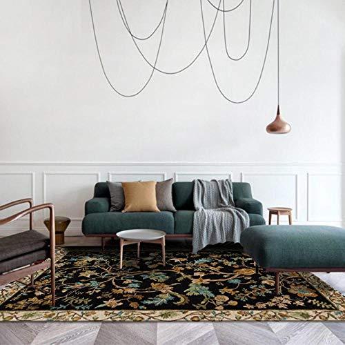 LAMEDER Home Alfombra De Diseño,Estilo rústico Vintage Flor Flor Negro Dormitorio salón vestíbulo Cocina baño Alfombra, 160 × 230 cm
