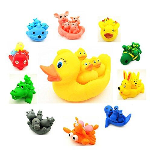 XuBa Bébé Enfants Maman Animal Mignonne et 3 Bébés Squeaky Baignoire Flottante Jouer Jouet Set Couleur Aléatoire Hippo (Random Color) Kids Toys